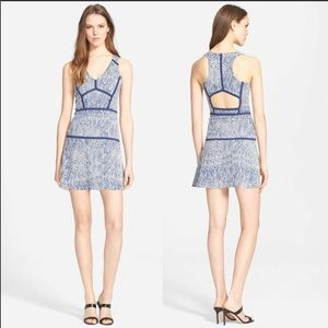 Parker Yonkers Blue Snake Print Mini Dress